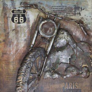 3-D SCHILDERIJ – METAL ART Vintage Harley Davidson 100 x 100 cm