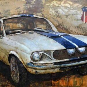 3-D_Metal_art_schilderij_Vintage_Witte_Oude_Ford_Mustang_Gave_Specials_627_